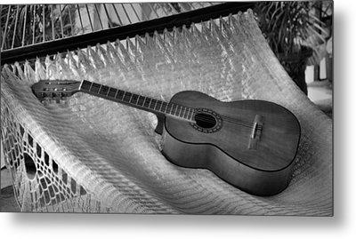 Guitar Monochrome Metal Print by Jim Walls PhotoArtist