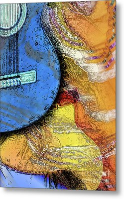 Metal Print featuring the painting Guitar Music by Allison Ashton
