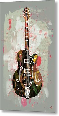 Guitar Stylised Pop Art Poster Metal Print by Kim Wang