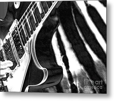 Metal Print featuring the photograph Guitar Zebra by Roxy Riou