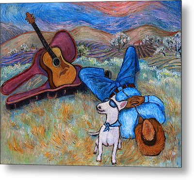 Metal Print featuring the painting Guitar Doggy And Me In Wine Country by Xueling Zou