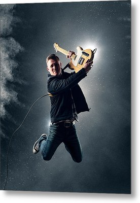 Guitarist Jumping High Metal Print