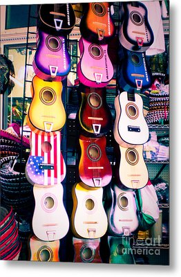 Guitars In San Antonio Market Metal Print by Sonja Quintero