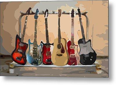 Guitars On A Rack Metal Print by Arline Wagner