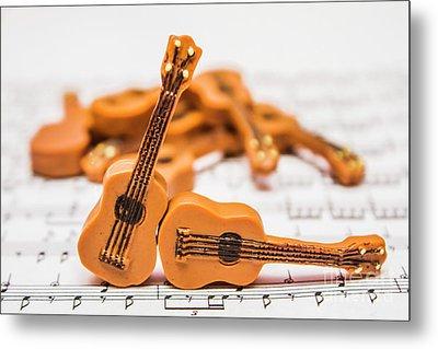 Guitars On Musical Notes Sheet Metal Print