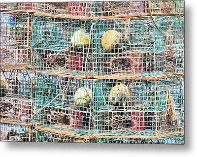 Metal Print featuring the digital art Gulf Coast Crab Traps by JC Findley