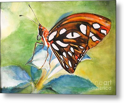 Metal Print featuring the painting Gulf Fritillary Butterfly by Sibby S