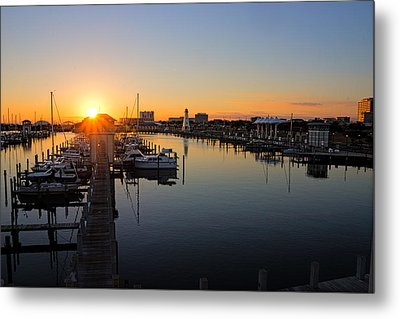 Gulfport Harbor Sunset Metal Print