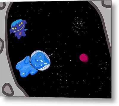 Gummy Bear In Space With Alien Metal Print by Jera Sky