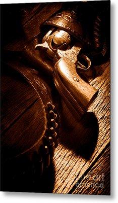 Gunslinger Tool - Sepia Metal Print by Olivier Le Queinec