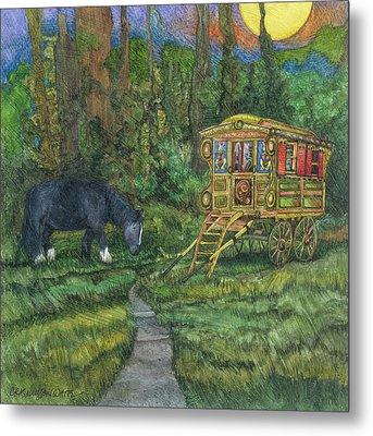 Gwendolyn's Wagon Metal Print by Casey Rasmussen White