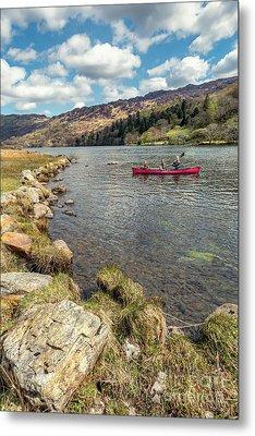 Gwynant Lake Canoeing Metal Print by Adrian Evans