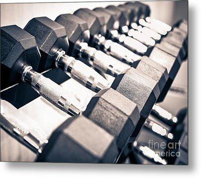 Gym Dumbbell Free Weights Rack Metal Print
