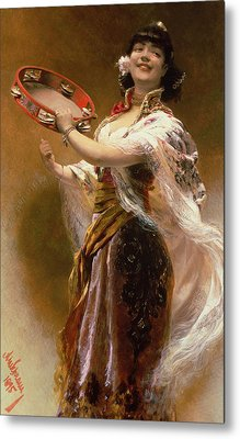 Gypsy Girl With A Tambourine Metal Print by Alois Hans Schram