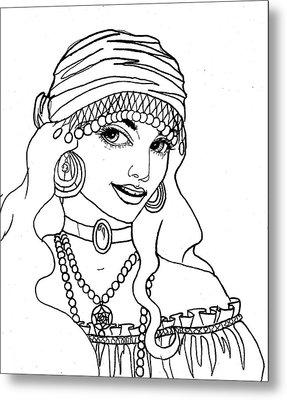 Gypsy Sketch Metal Print by Scarlett Royal