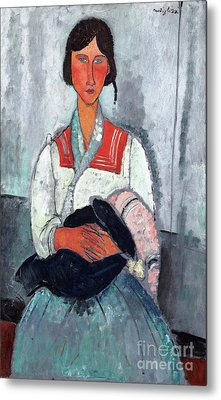 Gypsy Woman With Baby Metal Print by Reproductions