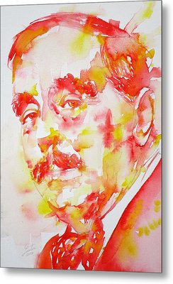 Metal Print featuring the painting H. G. Wells - Watercolor Portrait by Fabrizio Cassetta