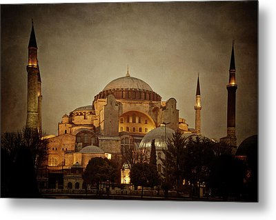 Hagia Sophia Istanbul Turkey Night Metal Print