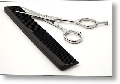 Hair Scissors And Comb Metal Print