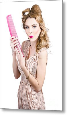 Hair Style Model. Pinup Girl With Large Pink Comb Metal Print