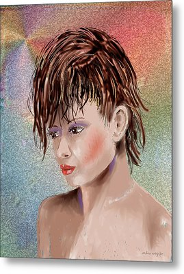 Hairstyle Of Colors Metal Print by Arline Wagner
