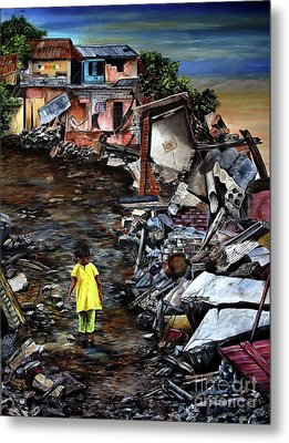 Metal Print featuring the painting Haiti Out Of The Rubble Hope by Anna-Maria Dickinson