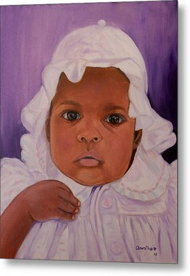 Metal Print featuring the painting Haitian Baby Orphan by Quwatha Valentine