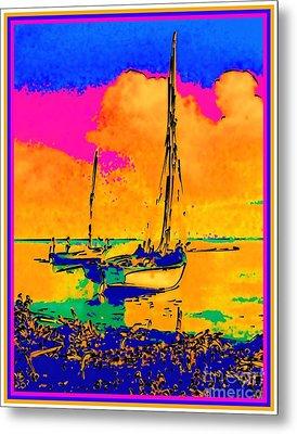 Haitian Fishing Boats Metal Print by Diane E Berry