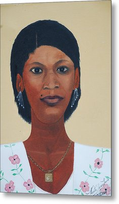 Metal Print featuring the painting Haitian Woman Portrait by Nicole Jean-Louis
