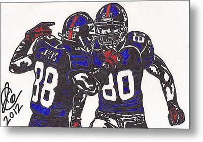 Hakeem Nicks And Victor Cruz Metal Print by Jeremiah Colley