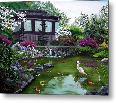 Hakone Gardens Pond In The Spring Metal Print by Laura Iverson