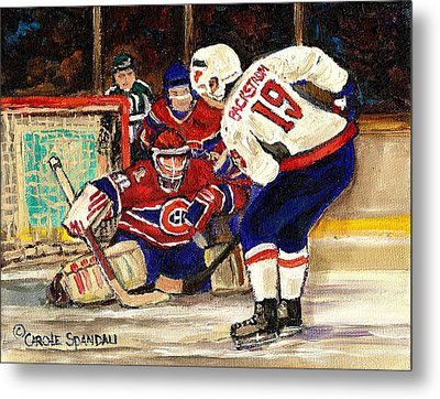 Halak Blocks Backstrom In Stanley Cup Playoffs 2010 Metal Print by Carole Spandau