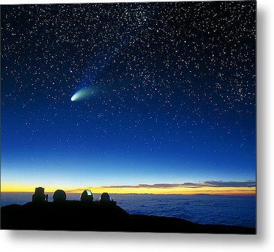 Hale-bopp Comet And Telescope Domes Metal Print by David Nunuk