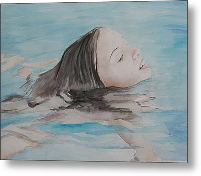 Haley In The Pool Metal Print by Charlotte Yealey