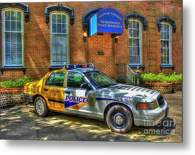 Metal Print featuring the photograph Half And Half What Is It Manna Savannah Georgia Police Art by Reid Callaway