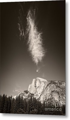 Half Dome And Cloud Metal Print
