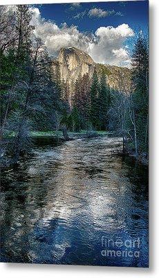 Half Dome And The Merced River In Yosemite Metal Print