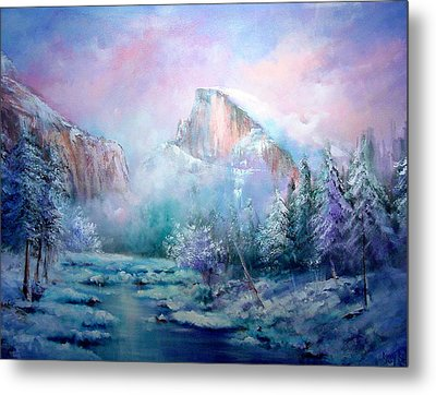 Half Dome Snow Metal Print by Sally Seago