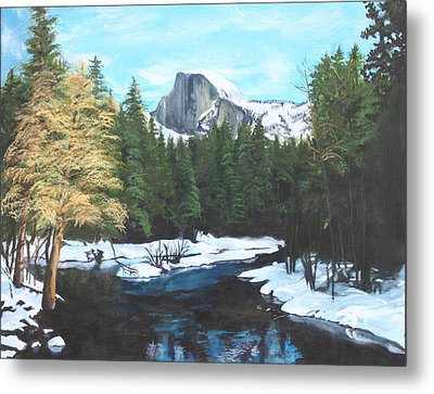 Half Dome Snow Metal Print by Travis Day