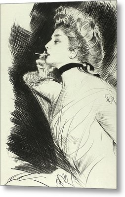 Half Length Portrait Of A Seated Woman, Smoking A Cigarette, Facing Left Metal Print by Paul Helleu