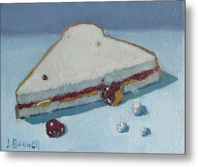 Metal Print featuring the painting Half Pb And J With Crumbs Series 5 by Jennifer Boswell
