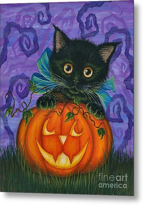 Metal Print featuring the painting Halloween Black Kitty - Cat And Jackolantern by Carrie Hawks