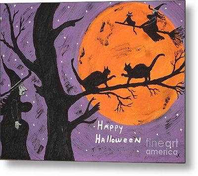 Halloween Cat Fight Metal Print by Jeffrey Koss