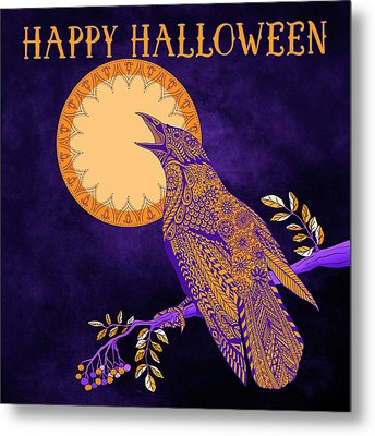 Metal Print featuring the drawing Halloween Crow And Moon by Tammy Wetzel