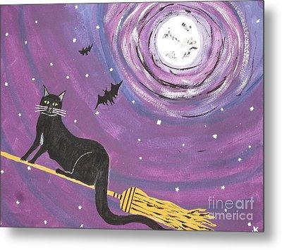 Halloween Flying  Black Cat Metal Print by Jeffrey Koss