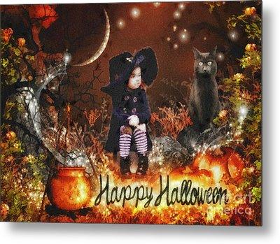 Halloween Girl Metal Print by Mo T