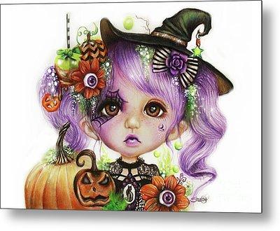 Metal Print featuring the drawing Halloween Hannah - Munchkinz Character  by Sheena Pike