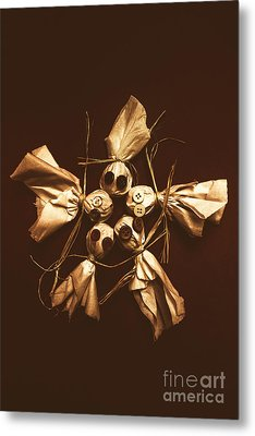 Halloween Horror Dolls On Dark Background Metal Print