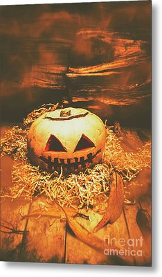 Halloween In Fall. Still Life Pumpkin Head Metal Print