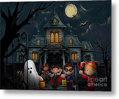 Halloween Kids Night Metal Print by Bedros Awak